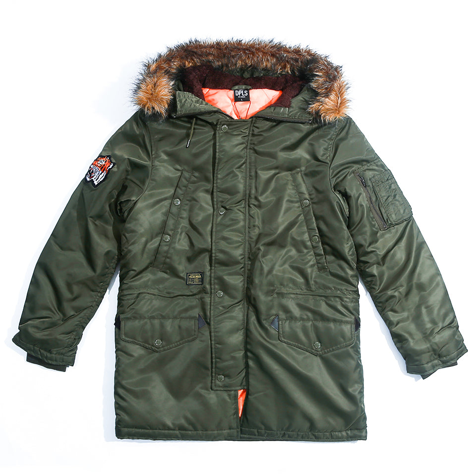 MIX ELEMENTS PARKA - OLIVE
