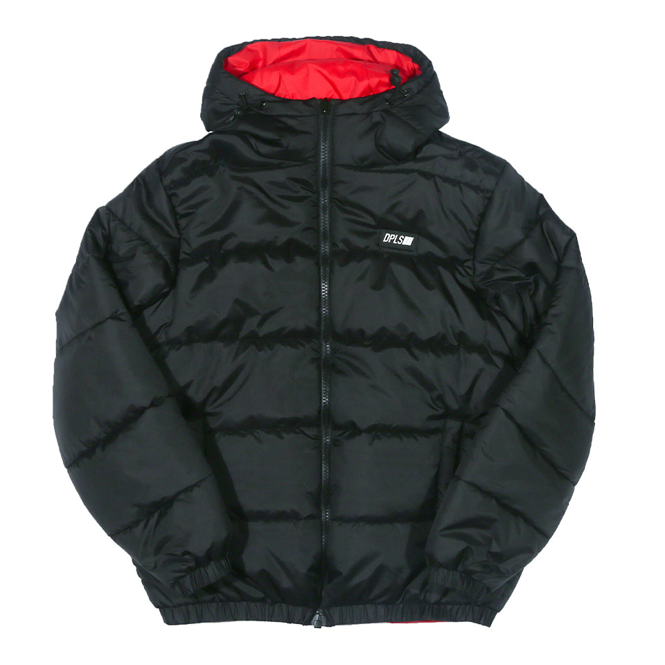 DPLS REV HOODED PADDED JACKET - BLACK/RED