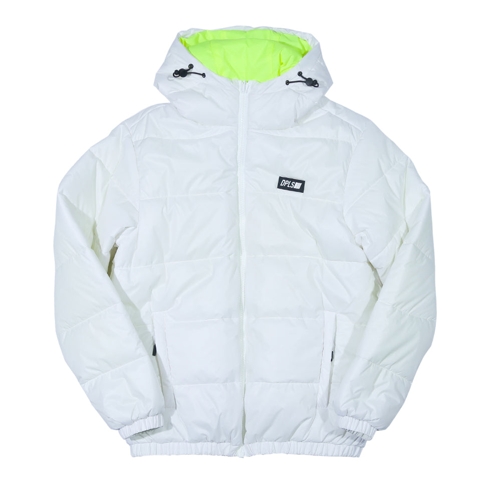 DPLS REV HOODED PADDED JACKET - WHITE/YELLOW