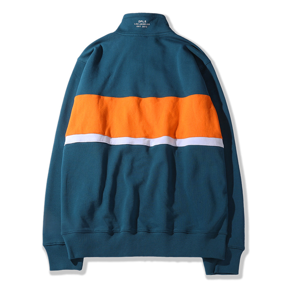 COLOR BLOCKED COLLARED SWEATSHIRT - GREEN (1483282710599)