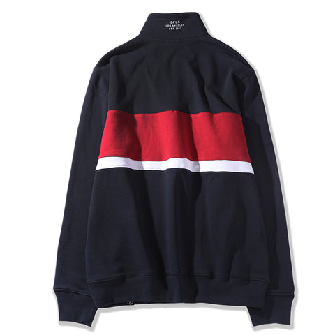 COLOR BLOCKED COLLARED SWEATSHIRT - NAVY