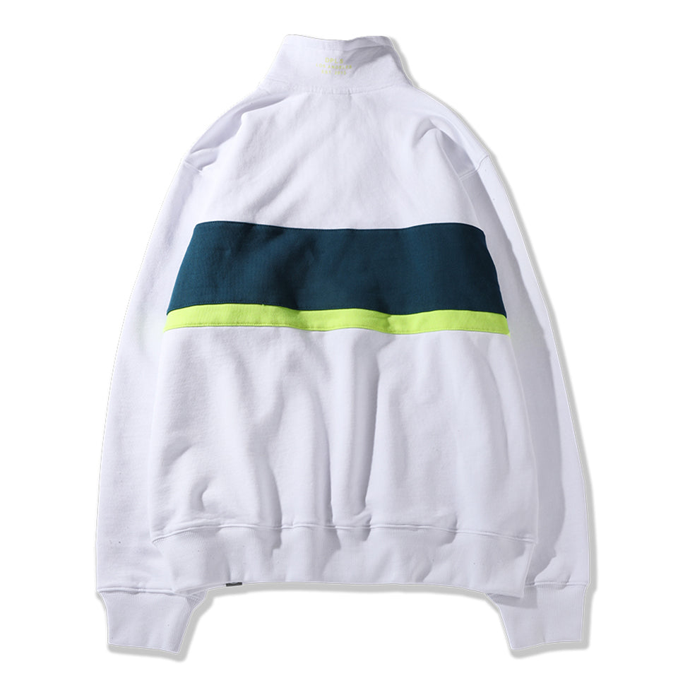 COLOR BLOCKED COLLARED SWEATSHIRT - WHITE (1483283202119)
