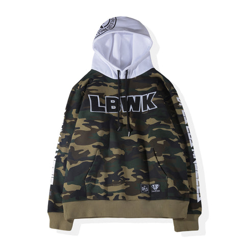 COLOR BLOCK ZIP-UP HOODIE - WHITE BLACK