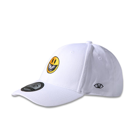 RON ENGLISH SMILEY FACE POLO CAP - WHITE