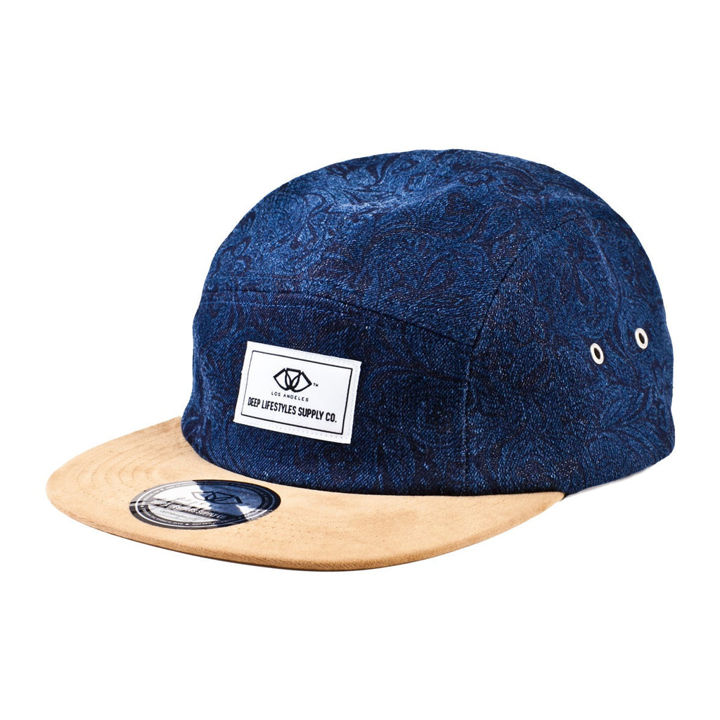 Denim and Beige Broderick 5-Panel Camper Hat
