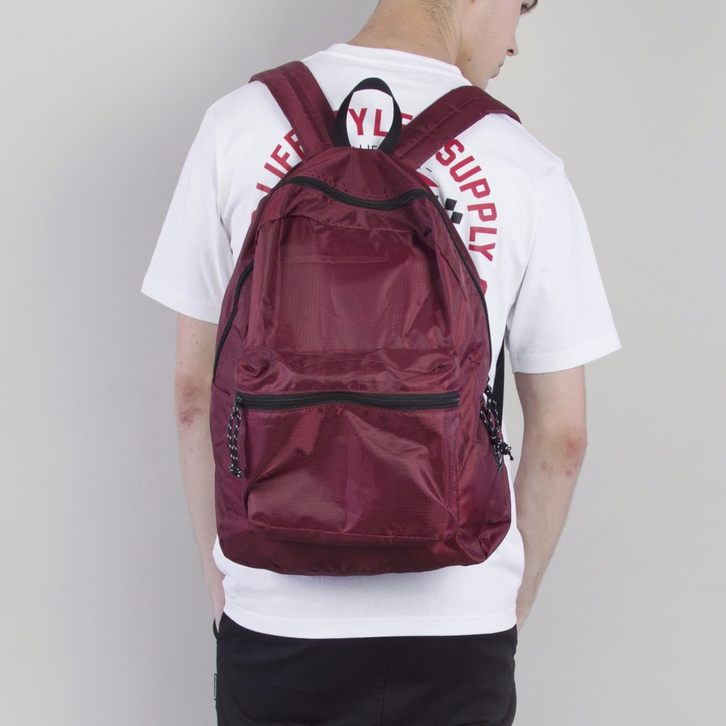 JAXON FOLDABLE BACKPACK - BURGUNDY