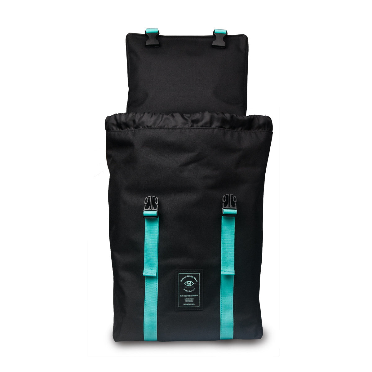 Black and DEEP Aqua Adventure Backpack (Front- Opened With Optional Drawstring)