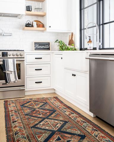 kitchen with vintage runner