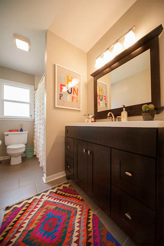 bathroom kilim rug