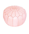 Light Pink Moroccan Leather Pouf - Rug & Weave