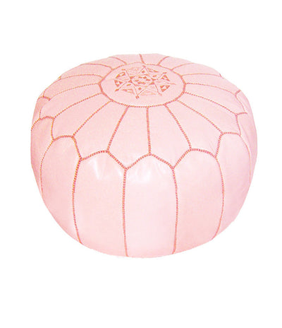 Light Pink Moroccan Leather Pouf