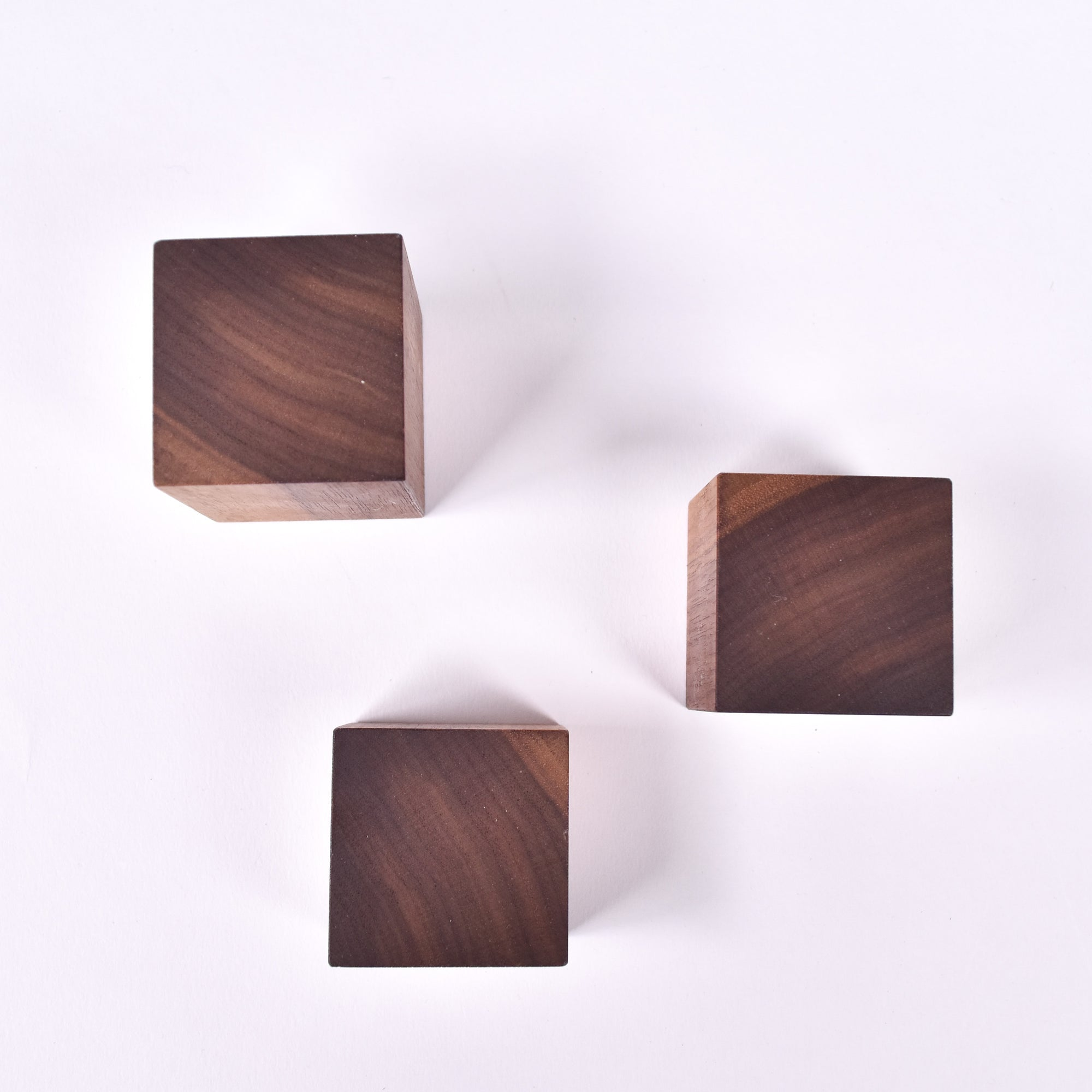 Square Walnut Wall Knobs Set of 3 - Rug & Weave