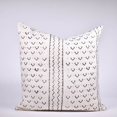 White Mudcloth Pillow