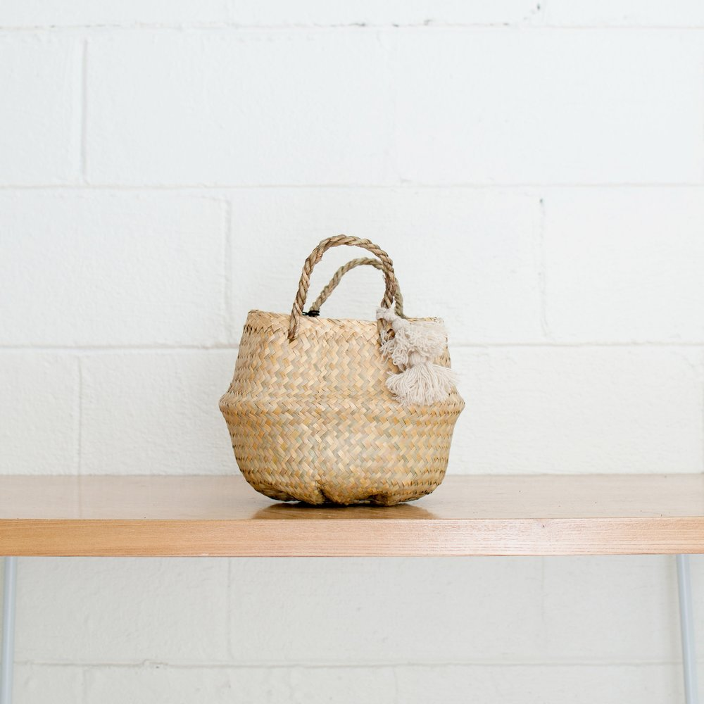 Seagrass Basket - Natural Tassel