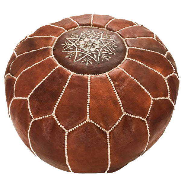 Brown Moroccan Leather Pouf - Rug & Weave - 1