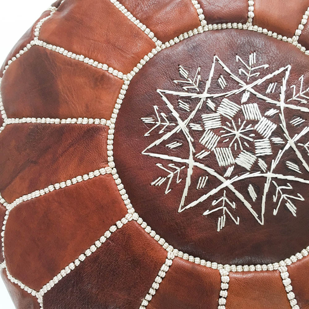 brown moroccan leather pouf  rug  weave - brown moroccan leather pouf  rug  weave