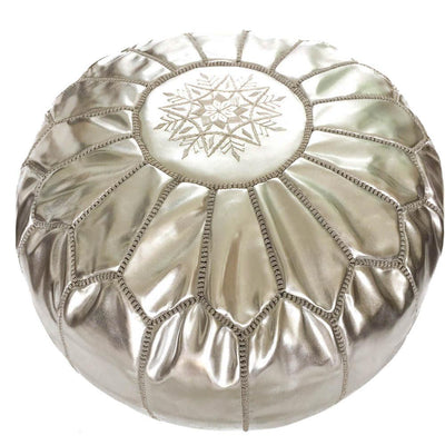 Silver Moroccan Leather Pouf