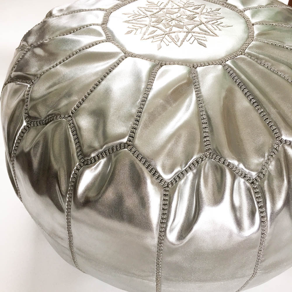 Silver Faux Leather Moroccan Pouf - Rug & Weave - 2