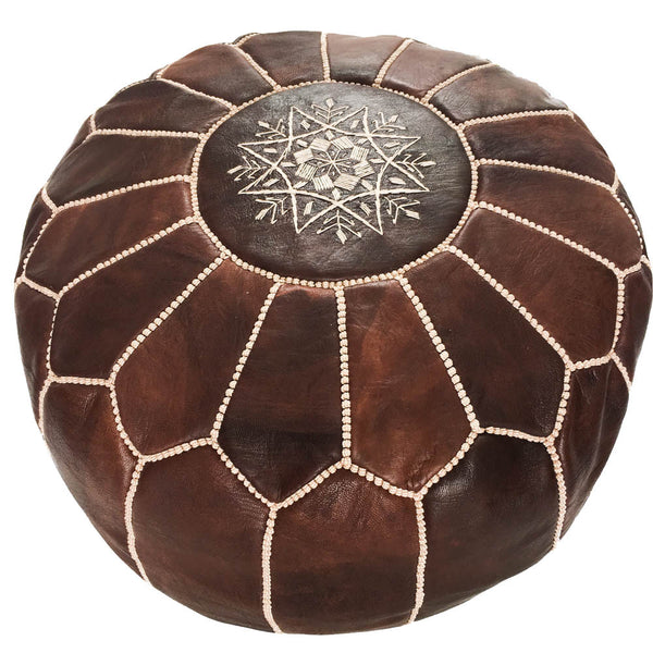 Dark Brown Moroccan Leather Pouf - Rug & Weave - 1
