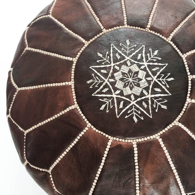 Dark Brown Moroccan Leather Pouf - Rug & Weave - 2