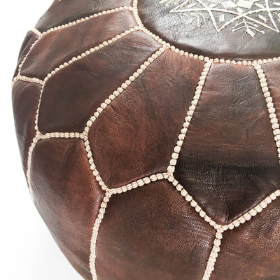 Dark Brown Moroccan Leather Pouf - Rug & Weave - 3