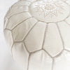 White Leather Moroccan Pouf - Rug & Weave - 2