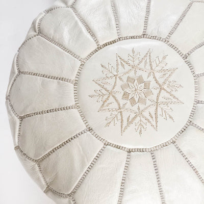 White Leather Moroccan Pouf - Rug & Weave - 3