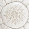 White Leather Moroccan Pouf - Rug & Weave - 4