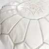 White Leather Moroccan Pouf - Rug & Weave - 5