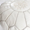 White Leather Moroccan Pouf