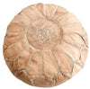 Light Brown Moroccan Leather Pouf