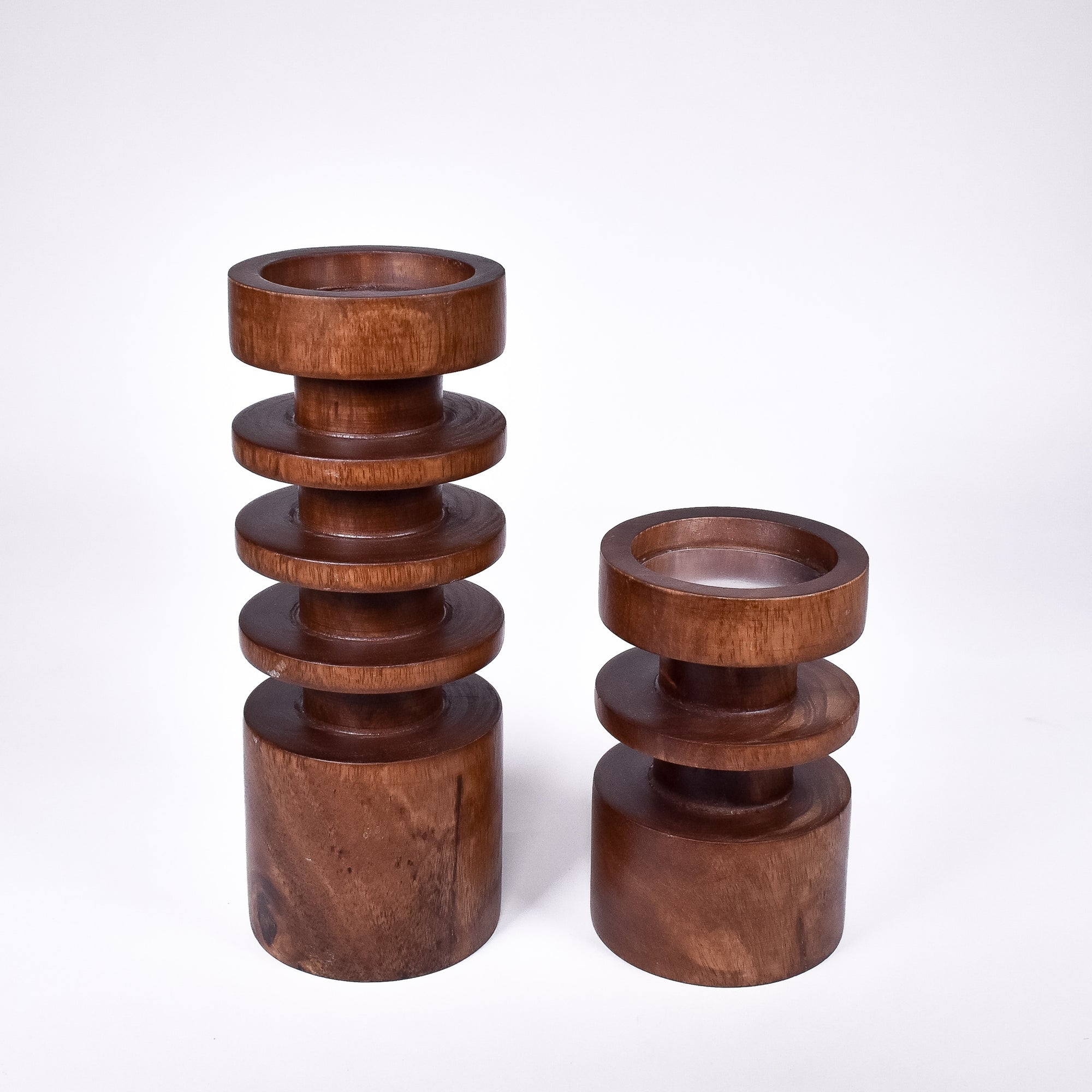 Wooden Candle Holder w/Candle - Rug & Weave