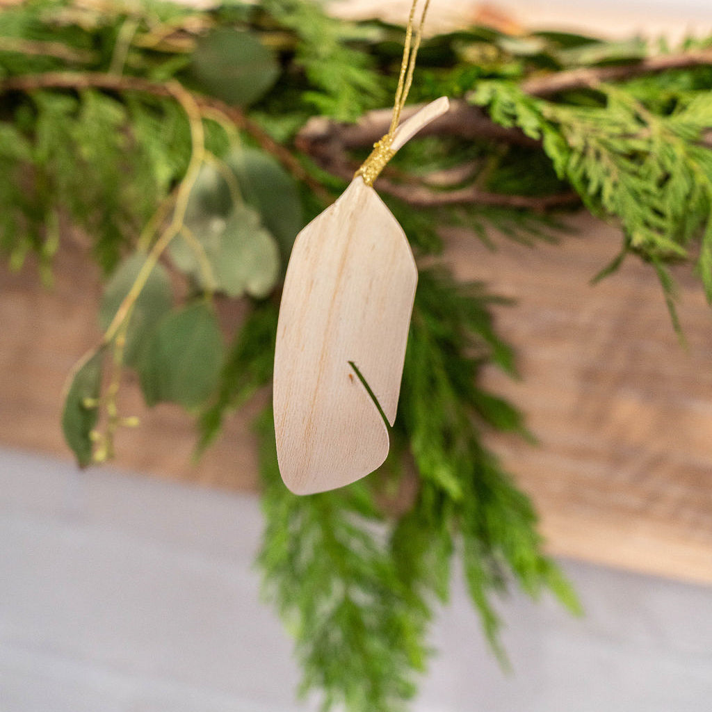 Wooden Feather Ornament