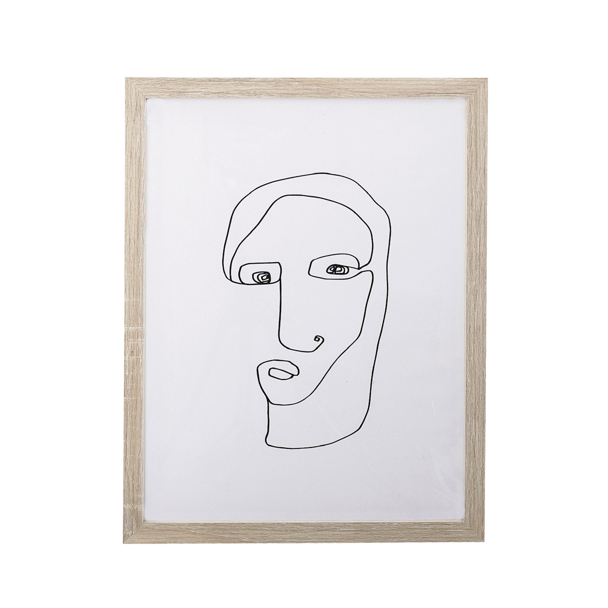 Abstract Face w/ Wood Frame - Rug & Weave
