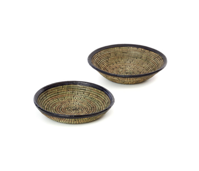 Medium Black Leather Trim Senegal Basket