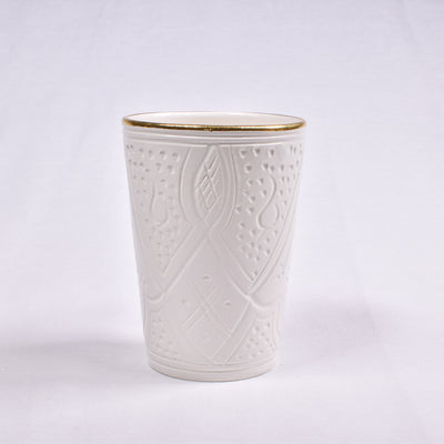 Gold & White Empreinte Ceramic Cup