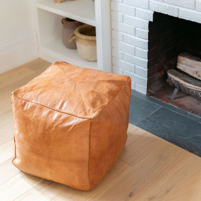Square Moroccan Leather Pouf - Rug & Weave