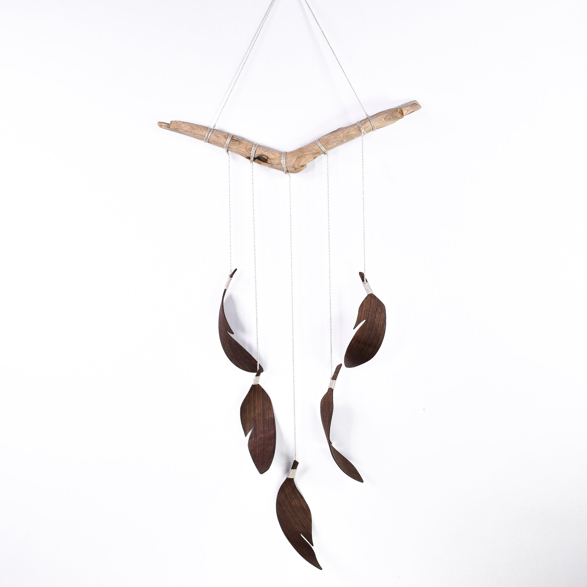 5 Feather Walnut Wall Hanging