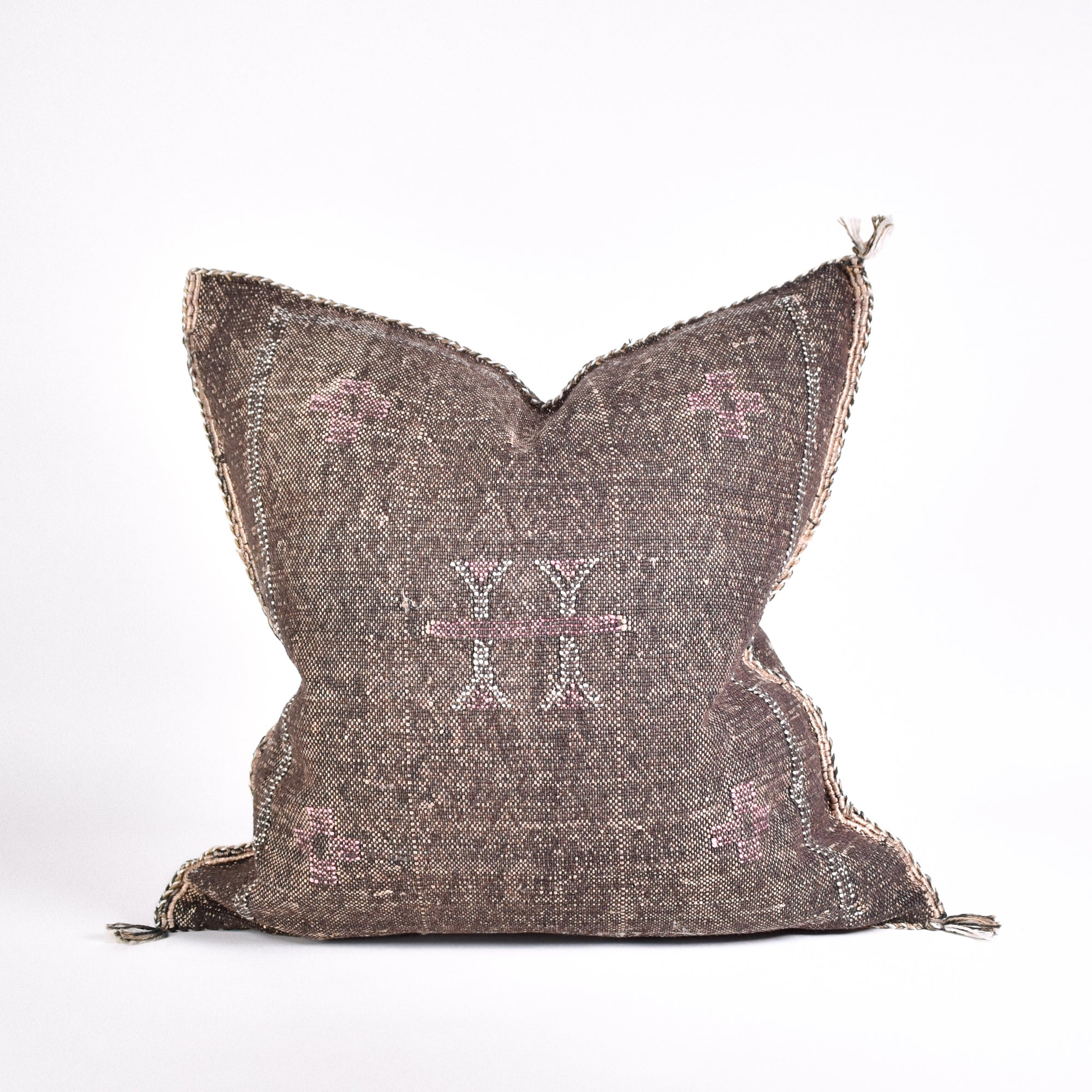 Brown Sabra Silk Pillow - Rug & Weave
