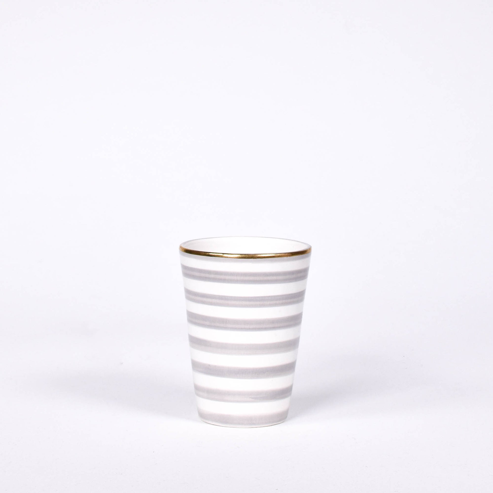 Gold & Grey Striped Ceramic Cup - Rug & Weave