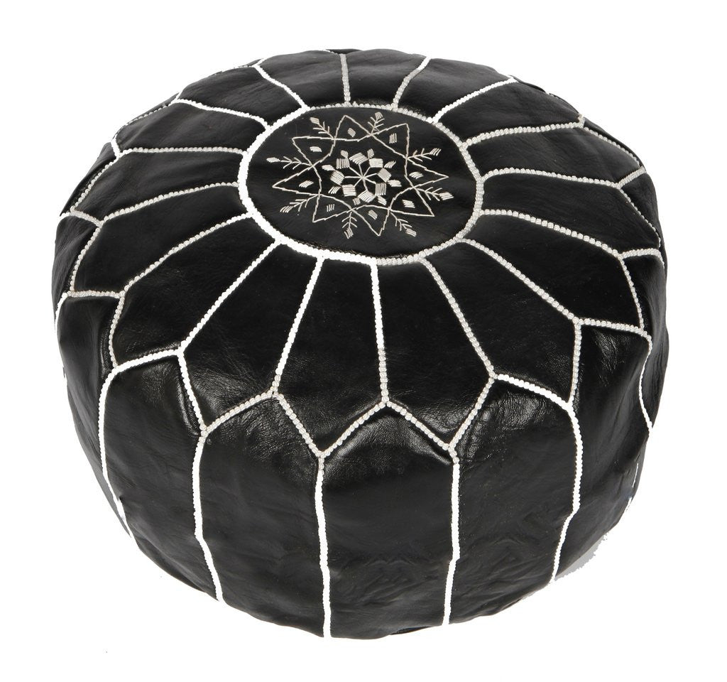 Black Moroccan Leather Pouf - Rug