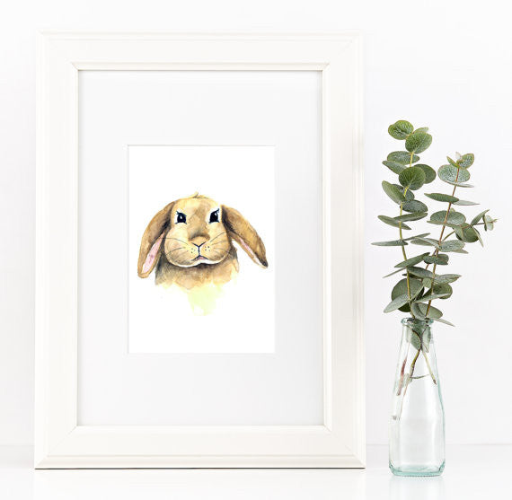 Bunny Watercolour Print - Rug & Weave - 1