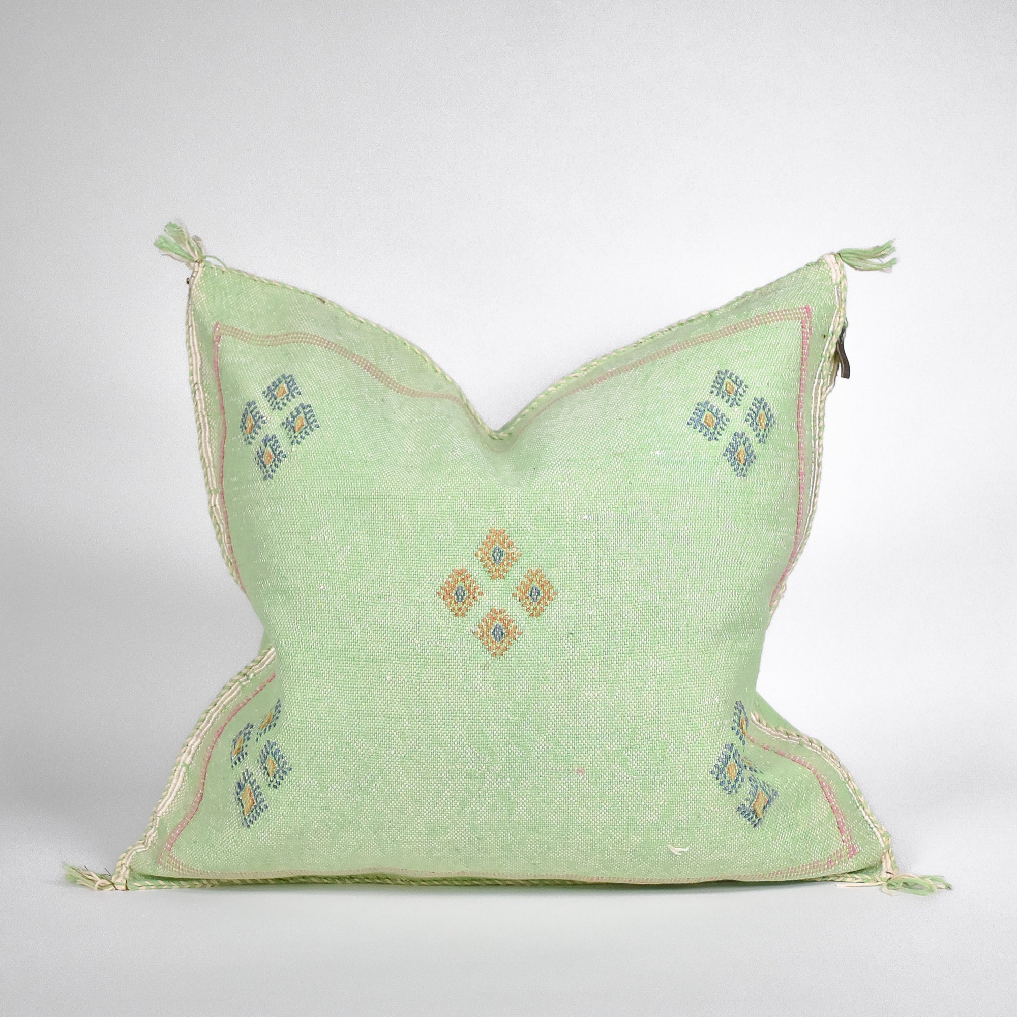 Green Sabra Silk Pillow - Rug & Weave