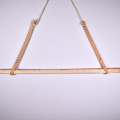 Decorative Wooden Hanger with Leather Straps - Rug & Weave