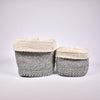 Grey Lidded Sisal Container