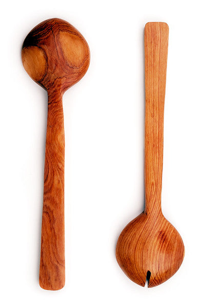 Kenyan Olive Wood & White Cow Bone Servers