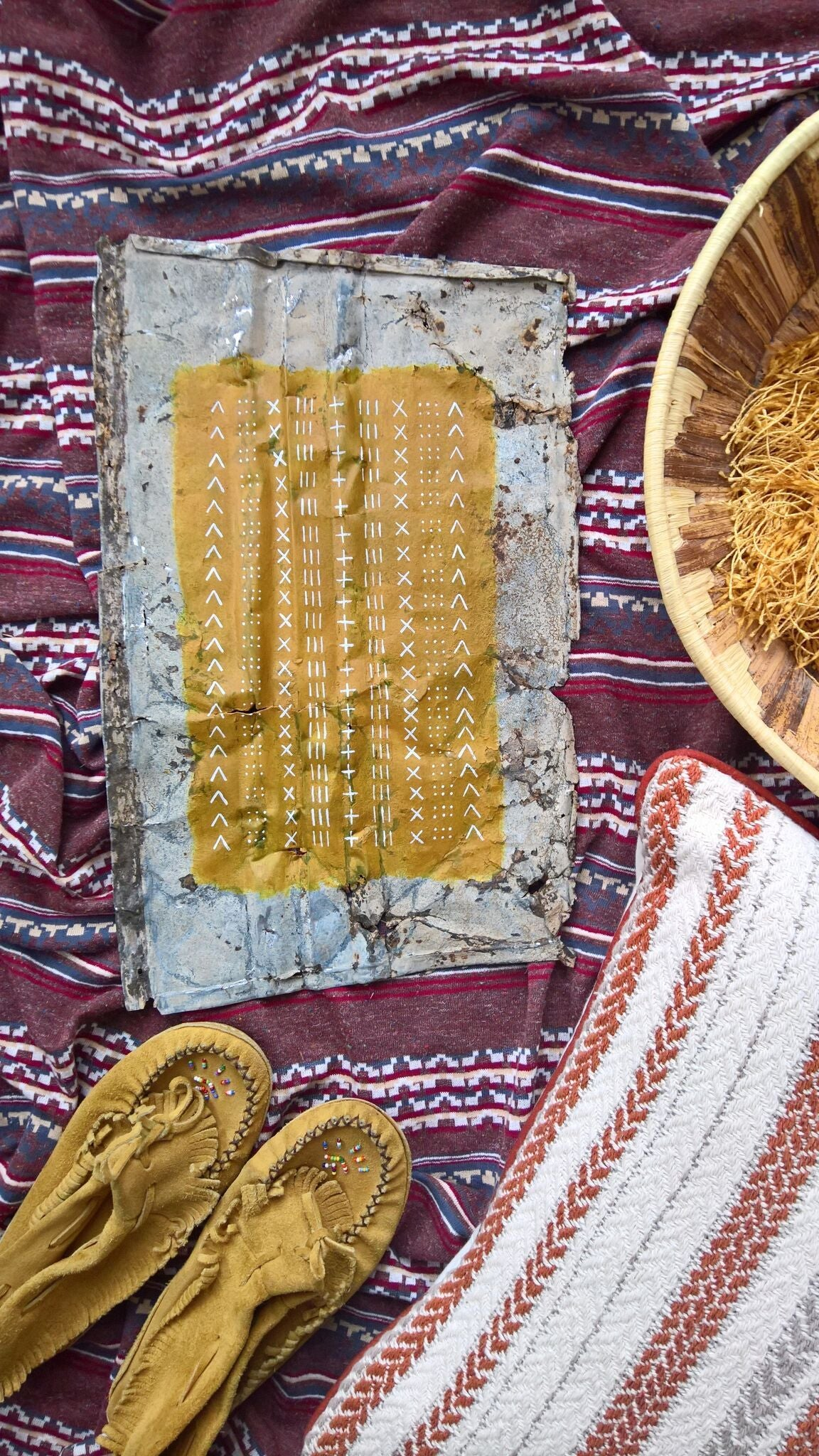 Mustard Mudcloth on Metal by Melissa Mary Jenkins Art - Rug & Weave