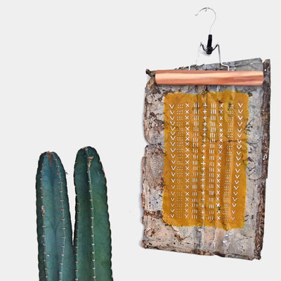 Mustard Mudcloth on Metal by Melissa Mary Jenkins Art