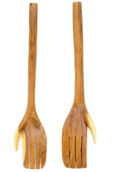 African Wild Olive Wood Hand Servers