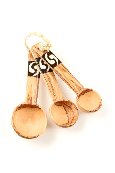 Set of 3 Measuring Spoons with Bone Inlay